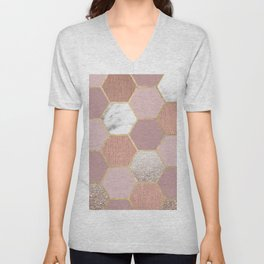 Indulgent desires rose gold marble Unisex V-Neck