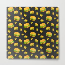 Cool and fun yummy burger pattern Metal Print