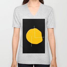 Black Yellow Unisex V-Neck