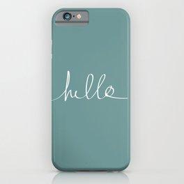 Hello x Simple Script in Blue-Grey iPhone Case