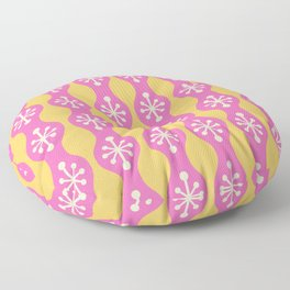 Mid Century Modern Ogee Pattern 150 Pink Beige and Yellow Floor Pillow