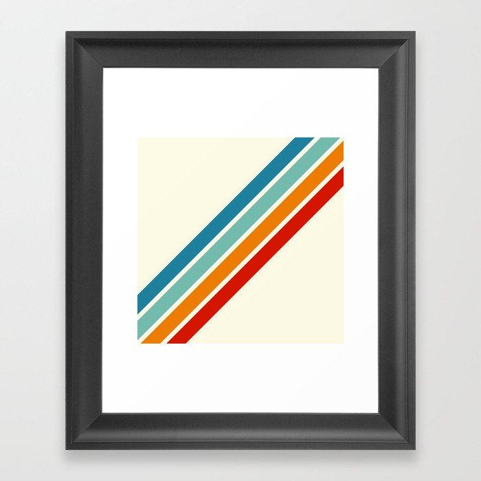 Alator - Classic 70s Retro Summer Stripes Gerahmter Kunstdruck