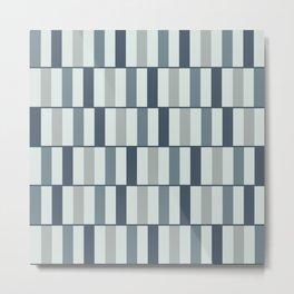 Long Blocks Neutral Blue-Gray Geometric Pattern  Metal Print