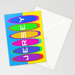 Jersey Text on Surfboards on the Beach Stationery Cards