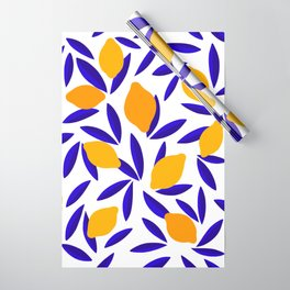 Blue and yellow Lemon Summery Pattern Wrapping Paper