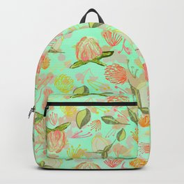 Peony Buds Abound Pattern on Mint Background with Watercolor Splotches Backpack