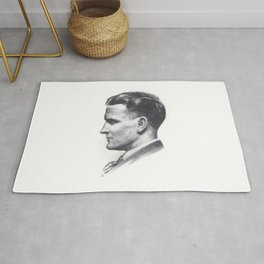 A portrait of F Scott Fitzgerald Rug