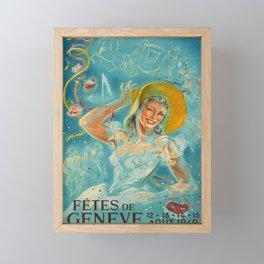 cartello fetes de geneve fetes de geneve affiche ancienne Framed Mini Art Print