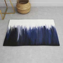 Modern blue cobalt black oil paint brushstrokes abstract Rug
