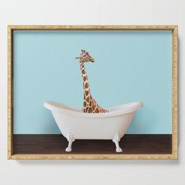 Bathtub giraffe in blue Serving Tray