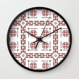 Mediterranean Pattern 7 - Tile Pattern Designs - Geometric - Maroon - Ceramic Tile - Surface Pattern Wall Clock