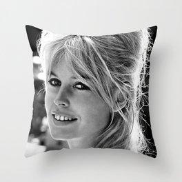 Brigitte Bardot Retro Vintage Art Throw Pillow