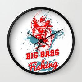Big Bass Fishing Fisher Fishermen Largemouth Bass Fisherman Wall Clock