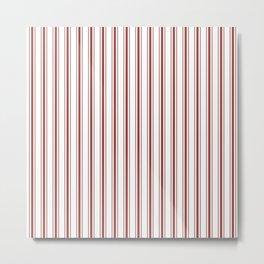 Vintage New England Shaker Barn Red Milk Paint Mattress Ticking Vertical Wide Striped Metal Print