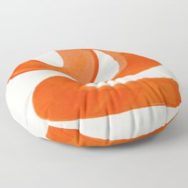 Mid Century Modern Abstract Minimalist Abstract Vintage Retro Orange Watercolor Brush Strokes Floor Pillow