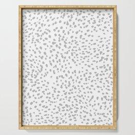 grey spots minimalist decor modern gifts grey and white polka dot brushstroke painting Serving Tray