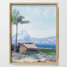 Cottage on Beach #photography #beach #society6 Serving Tray