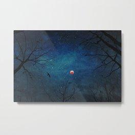 Blood Moon Through Trees Metal Print