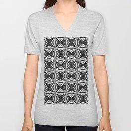 Black and White Foil Effect Checked Pattern Unisex V-Neck