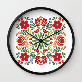 Hungarian Folk Design Red and Pink Wall Clock