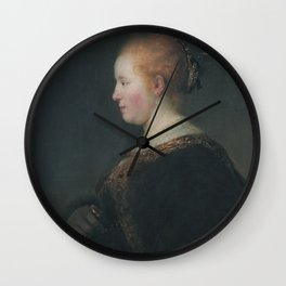A Young Woman in Profile, with a Fan Wall Clock
