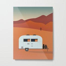 Camper in the Desert at Sunset Metal Print