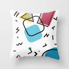 Memphis Throwback Retro Blue 1990s 90s Trendy Hipster Pattern Eighties Shapes Throw Pillow