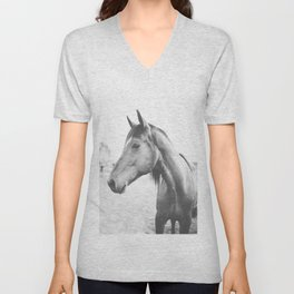 bw horse, equestrian, black and white horse, thoroughbred Unisex V-Neck