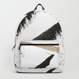 Sassy: a minimal abstract mixed-media piece in black, white, and gold by Alyssa Hamilton Art Backpack