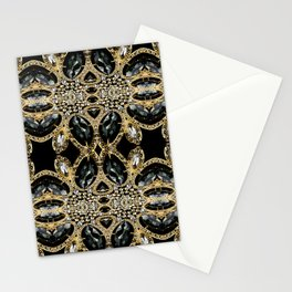 art deco jewelry bohemian champagne gold black rhinestone Stationery Cards