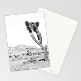 Vintage Desert Scape B&W // Cactus Nature Summer Sun Landscape Black and White Photography Stationery Cards