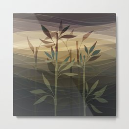 Sunset Breeze Bamboo Garden Metal Print