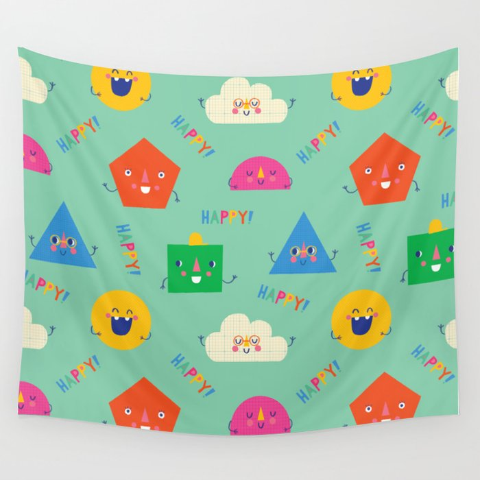 Happy! Pattern Wall Tapestry