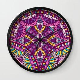 Beautiful Vintage Retro Bohemian Hippie Magenta Teal Mandala Design Wall Clock