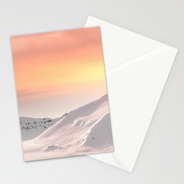 Snow-covered mountains of Svalbard at dusk Stationery Cards