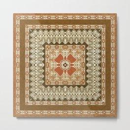 Vintage Delight Square Mandala Metal Print