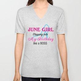June Girl Birthday Unisex V-Neck