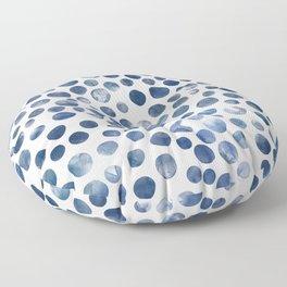 Dots - Blue Denim watercolor Floor Pillow