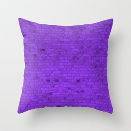 Bright Neon Purple Brick Wall Throw Pillow