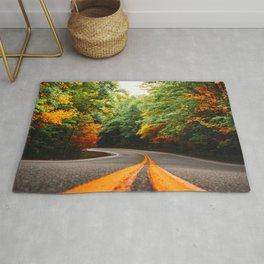 autumn road in new england Rug