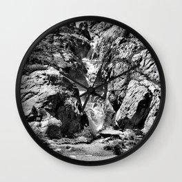 waterfall rope bridge kaunertal alps tyrol austria europe black white 2 Wall Clock