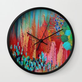 REVISIONED RETRO - Bright Bold Red Abstract Acrylic Colorful Painting 70s Vintage Style Hip 2012 Wall Clock