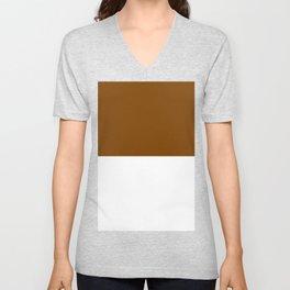 White and Chocolate Brown Horizontal Halves Unisex V-Neck