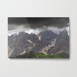 Mountains Alps Peaks Storm Metal Print