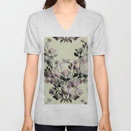 Vintage Flower Branches Unisex V-Neck