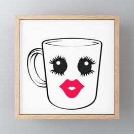 Kawaii Diva Coffee Cup Framed Mini Art Print
