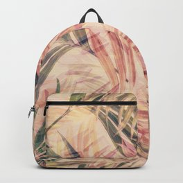 Palm Leaves in pink Backpack
