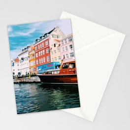 Digital Illustration of Copenhagen's Nyhavn Seen from the Boat, on a Bright and Sunny Day Stationery Cards
