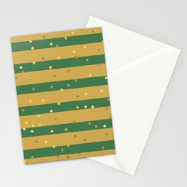 Christmas Golden confetti on Gold and Green Stripes Stationery Cards
