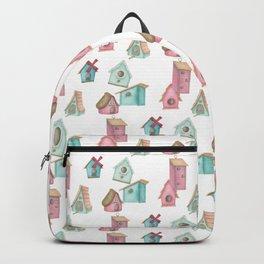 Watercolour Bird Houses Backpack